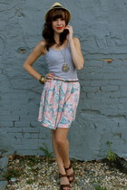 gold hat - silver necklace - light pink skirt - heather gray belt - brown wedges