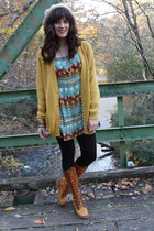 gold cardigan - bronze boots - turquoise blue top