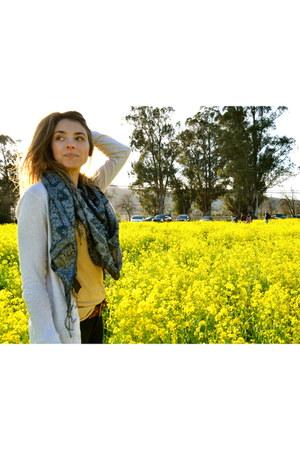 mustard Forever 21 shirt - navy H&M scarf - beige J Crew cardigan