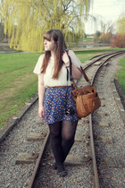 black River Island shoes - navy worn as skirt modcloth dress - brown Dorothy Per