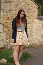 cream free people skirt - brown Minnetonka shoes - heather gray H&M top