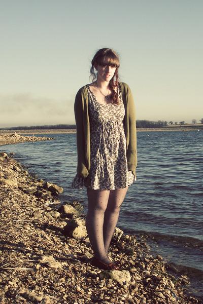 olive green H&M cardigan - heather gray Dorothy Perkins dress - brown Minnetonka