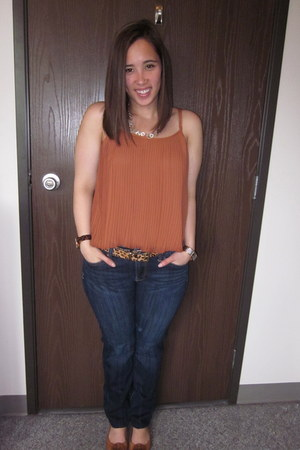 Nine West belt - Lucky Brand jeans - Forever 21 top - tory burch flats
