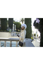 dark brown Prada sunglasses - ivory long quilted Express coat