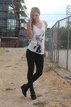 black skinny jeans DSTLD jeans - white graphic tee Arm the Animals top