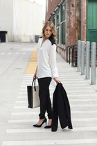 black Percee shirt - ivory tote studded JustFab bag - black Hudson pants
