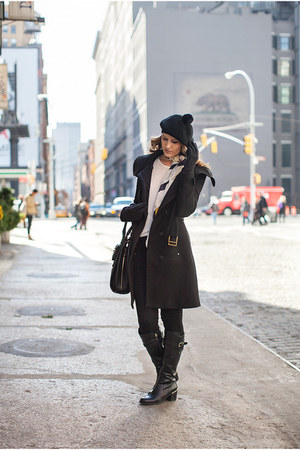 wool Mango coat - leather Salvatore Ferragamo boots - cotton H&M hat