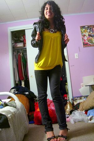 black Miley CyrusMax Azria jacket - yellow Forever 21 top - black Forever 21 jea