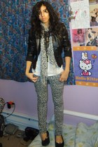 off white leopard print Rave jeans - black bomber Miley CyrusMax Azria jacket -