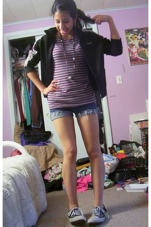 black Wet Seal jacket - purple xhiliration t-shirt - blue Tommy Jean shorts - bl