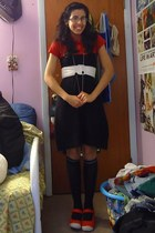 red polo shirt - black knee high socks - black energie jumper - white Claires be