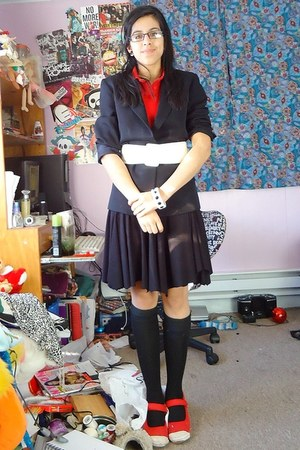 black Jones New York blazer - red polo shirt - black thigh high socks - white Cl