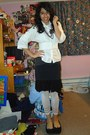 White-button-up-aeropostale-shirt-dark-gray-miley-cyrus-max-azria-shirt-ivor