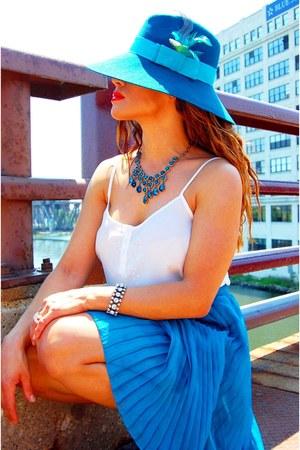 teal asos hat - white f21 blouse - teal f21 skirt - Aldo wedges