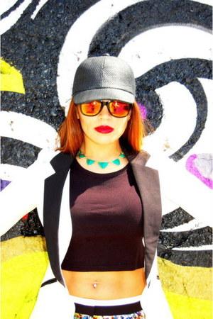 black Target hat - tuxedo blazer - floral f21 shorts - neon Prabal Gurung heels