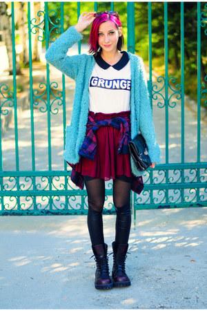grunge MiiA top - fuzzy MiiA cardigan - oxblood chiffon chicnova skirt
