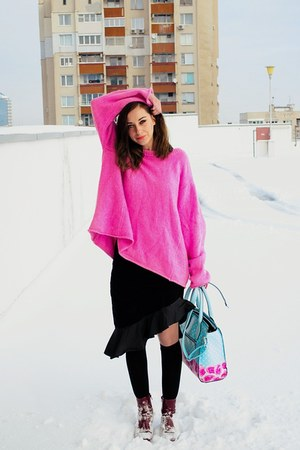 pink oversize second hand sweater - second hand skirt