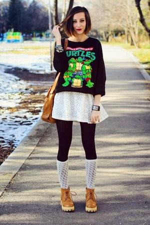 second hand sweatshirt - Choies boots - lace 6ks dress