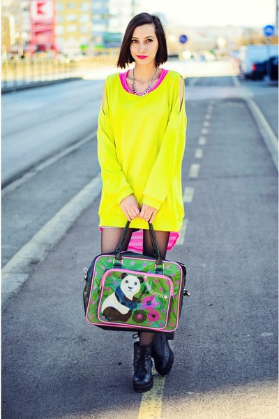 panda Rosalita McGee bag - Choies sweatshirt - New Yorker necklace