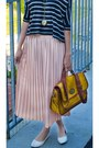 Peach-pleated-second-hand-skirt-mustard-satchel-deichman-bag