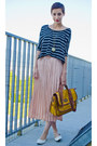 Mustard-satchel-deichman-bag-peach-pleated-second-hand-skirt