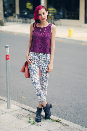 purple cropped second hand top - Egoist jeans
