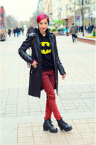 leather jacket second hand jacket - red jeans New Yorker jeans - hoodie