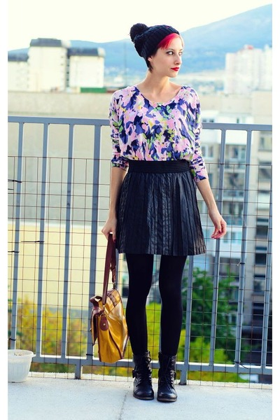 black leather second hand skirt - pompom ovs hat - flower print H&M sweater