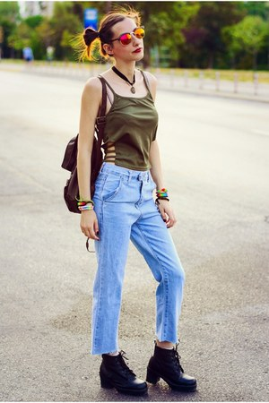 spaghetti strap second hand top - Choies jeans - mirror H&M glasses