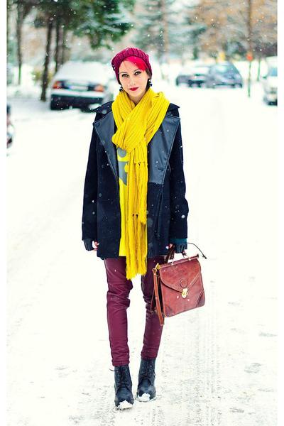 second hand bag - Stradivarius coat - H&M pants