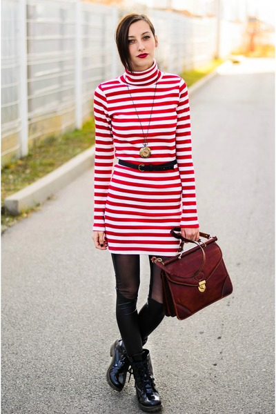 vintage second hand bag - striped nowIStyle dress