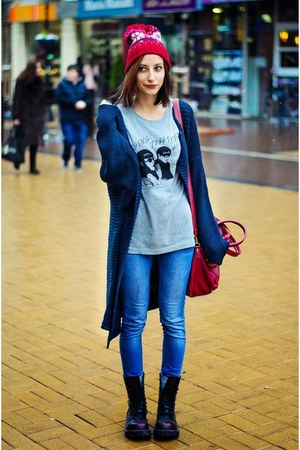 navy slouchy nowIStyle cardigan - t-shirt