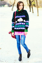 bunnies second hand sweater - tartan second hand shirt - neon pink nowIStyle top