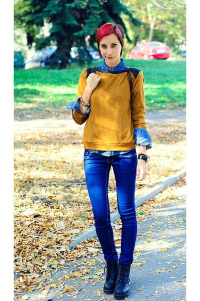 mustard sweater second hand sweater