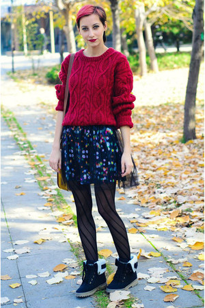 vintageoversize second hand jumper - doted lace H&M dress