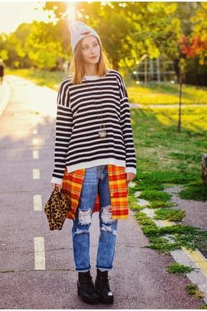 Choies sweater - boyfriend Front Row Shop jeans - gray beanie Choies hat