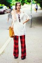 plaid second hand pants - lace dress 6ks dress