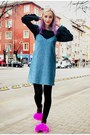 Slip-on-zara-dress-cropped-zara-sweatshirt-faux-fur-second-hand-flats