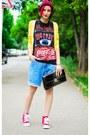 Burgundy-h-m-hat-boyfriend-thrifted-shorts-yellow-mango-cardigan