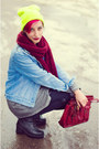 Denim-second-hand-jacket-neon-nowistyle-hat-h-m-scarf-second-hand-bag