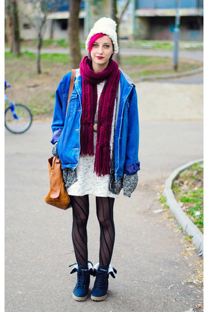 nowIStyle dress - oversize denim jacket - asos cardigan