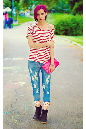 boyfriend cichic jeans - stripe nowIStyle t-shirt