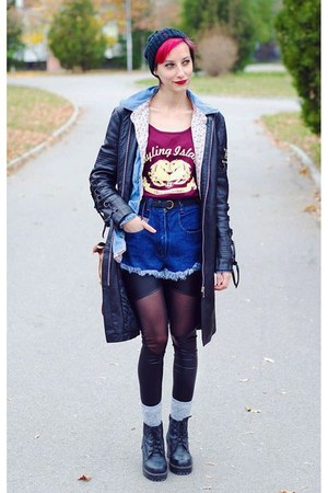 leather jacket second hand jacket - denim shirt second hand shirt