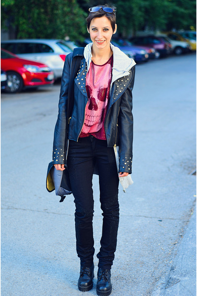 leather studed Tally Weijl jacket - skull New Yorker shirt