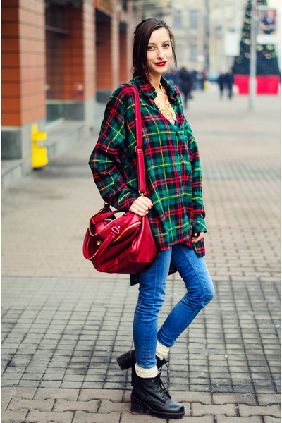 plaid oversize nowIStyle shirt - retro golden sammydress necklace