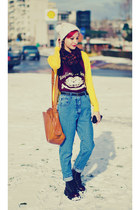 H&M hat - vintage jeans second hand jeans - yellow cardi Mango cardigan