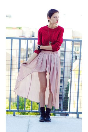 assymetrical skirt - chunky Mango sweater