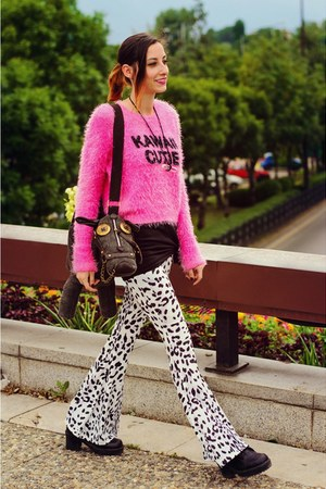 H&M sweater - horse Choies bag - style moi pants