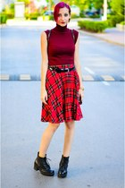 plaid second hand skirt - turtleneck nowIStyle top