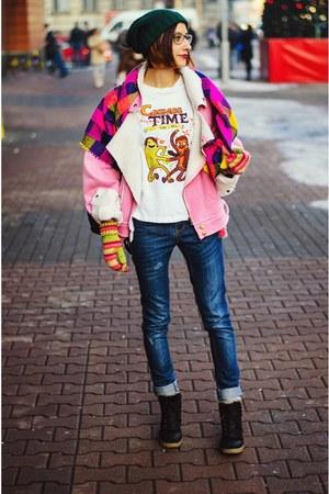 shearling Choies coat - cosmos series SnapMade t-shirt